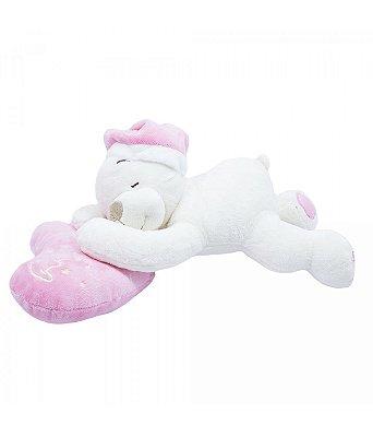 Pelúcia Urso Dormindo No Coração Rosa 33cm