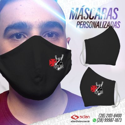 Máscara de proteção Vasco personalizadas 100% Algodão Reutilizável - 3 Unidades