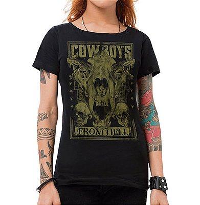 Camiseta Feminina Cowboys From Hell Preta