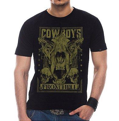 Camiseta Masculina Hell's Cowboy (Rusty) Preta