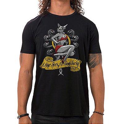 Camiseta Masculina Aero Kitty Preta