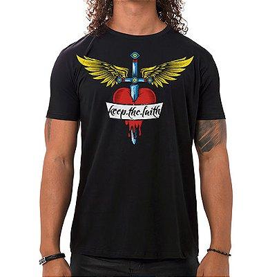 Camiseta Masculina Keep The Faith Preta