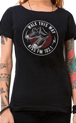 Camiseta Feminina Rock Shoes Preto