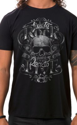 Camiseta Masculina Live to Rock Preto
