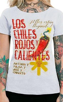 Camiseta Feminina Rojos y Calientes Branco