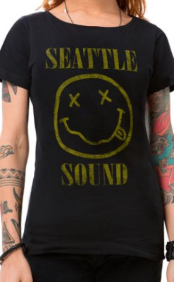 Camiseta Feminina Seattle Sound Preto