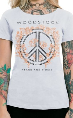 Camiseta Feminina Peace and Music Branco
