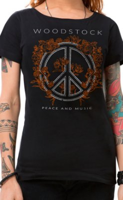 Camiseta Feminina Peace and Music Preto
