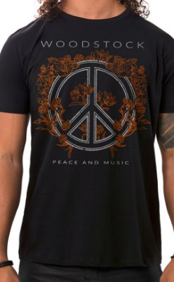 Camiseta Masculina Peace and Music Preto