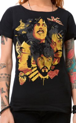 Camiseta Feminina Fab Four of Liverpool Preto