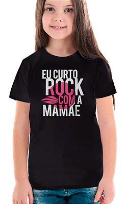 Camiseta Infantil Rock com a Mamãe - Preto