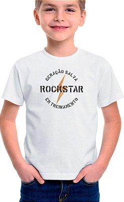 Camiseta Infantil Rockstar em Treinamento Branco