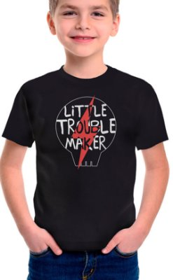 Camiseta Infantil Little Troublemaker Preto