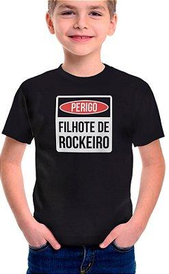 Camiseta Infantil Filhote de Rockeiro - Preto
