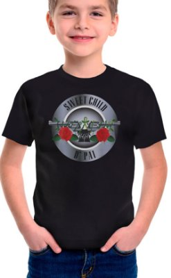 Camiseta Infantil Sweet Child d' Pai- Preto