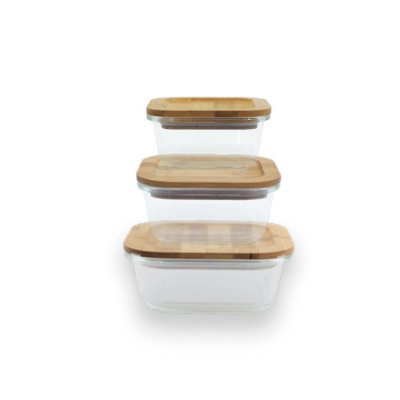 Conjunto de Potes de Vidro Retangulares com Tampa de Bambu 320 ml + 520 ml + 800 ml