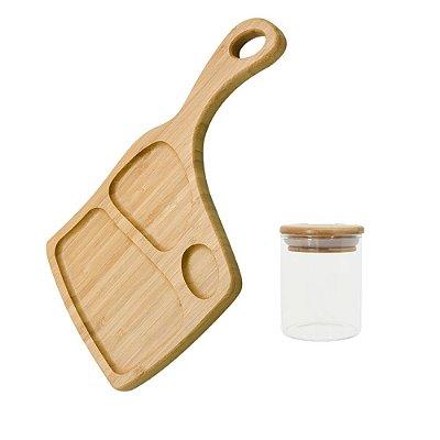 Conjunto Tábua de Frios em Bambu + Pote de Vidro 200 ml