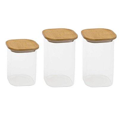 Conjunto de Potes de Vidro Retangulares com Tampa de Bambu 1400 ML + 1100 ML