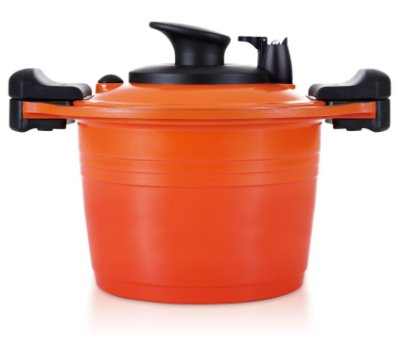 Caçarola Alta Roichen Premium Vacuum com Revestimento Cerâmico Natural - 20 CM - 4L  - Função Vácuo - Laranja