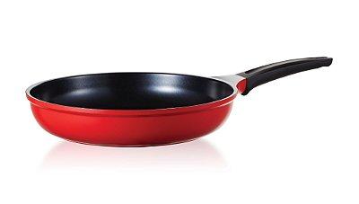 Frigideira Roichen Natural com Revestimento Cerâmico - 30 CM - 3,2L - Vermelha - Sem tampa