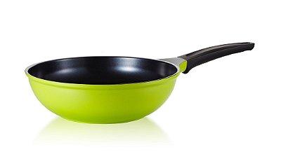 Wok Roichen Natural com Revestimento Cerâmico - 28 CM - 3,7L - Verde - Sem tampa