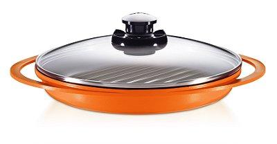 Grill Smart Pot com Revestimento Cerâmico e Tampa de Vidro - 26CM - Laranja