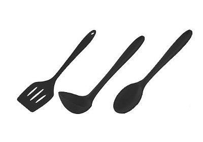 Jogo de 3 Utensílios de Silicone com Reforço em Náilon - Get Essential - Preto