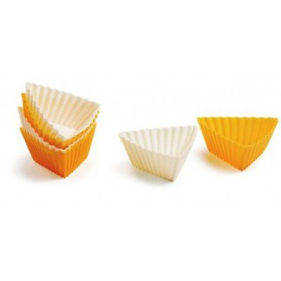 Kit com 6 formas de silicone triangulares p/ muffin - Laranja e Branco