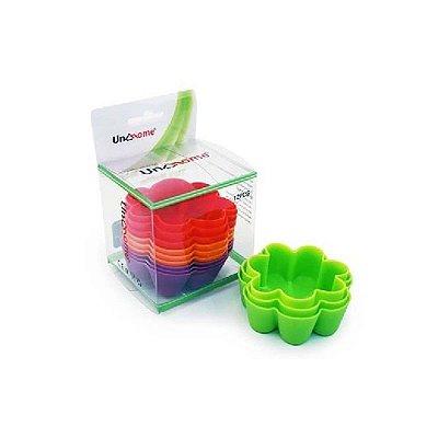 Jogo De Mini Formas Em Silicone para Muffin e Cupcake - Flor - Colorido - 12 peças