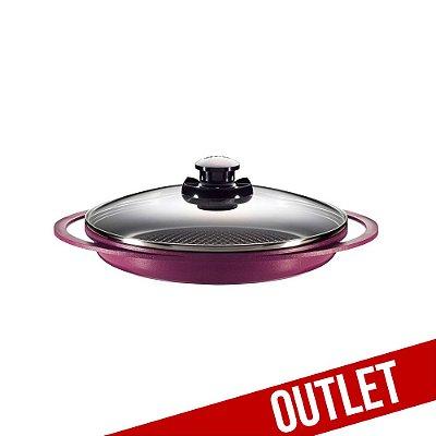 Grill Smart Pot com Revestimento Cerâmico e Tampa de Vidro - 28CM - Violeta c/ pequenas avarias