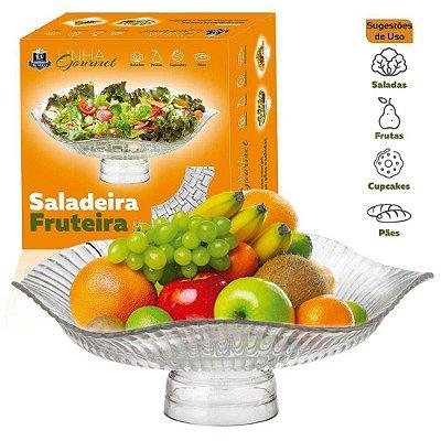 Saladeira ou Fruteira de Vidro Com Pé -  Bari Gourmet Ruvolo - 31cm