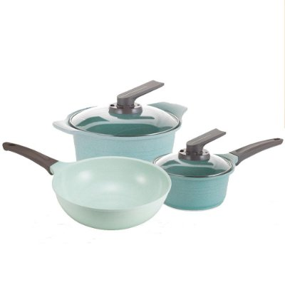 Jogo de panelas Roichen Natural Jade Pot Plus - 5 peças - Verde Claro