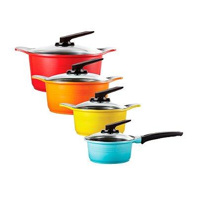 Jogo de Panelas Colorido com Revestimento Cerâmico Natural Roichen - 8 Pçs:  3 Caçarolas + 1 Panela e 4 Tampas Standing de Vidro