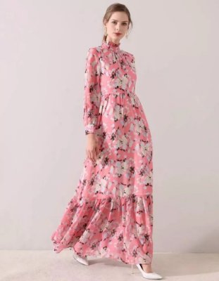 Vestido longo pink floral manga longa