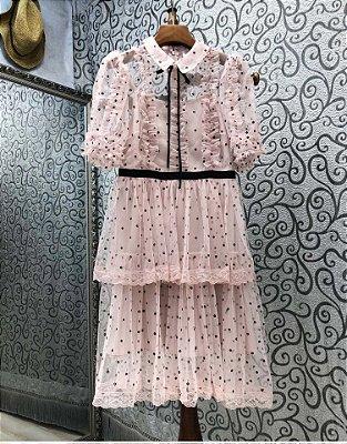Vestido tule vintage bolinha rosa claro