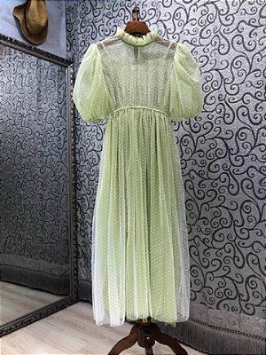 Vestido vintage tule verde poá