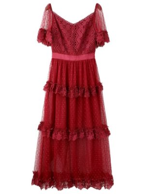 Vestido midi vermelho tule com poá e renda decote V