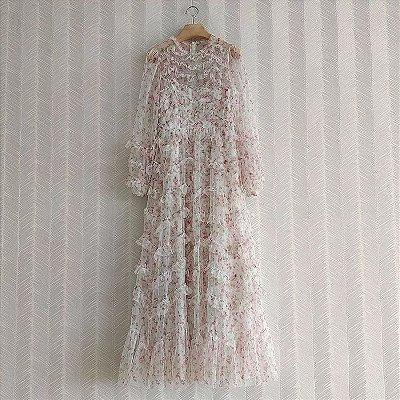 Vestido longo tule floral rosinhafrufru manga longa
