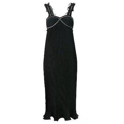 Vestido midi plissado alça zíper