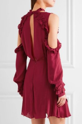 Vestido crepe vermelho recorte ombro