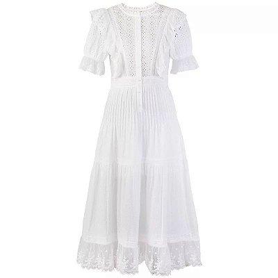 Vestido midi algodão renda lese babados decote V