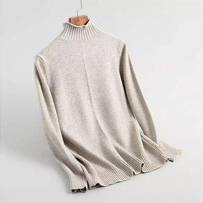 Blusa de lã tricot canelado gola alta