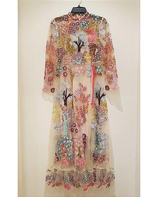 1588e699a Vestido midi tule bordado flores e árvore manga longa vintage
