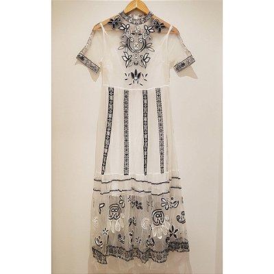 Vestido P&B midi tule manguinha vintage