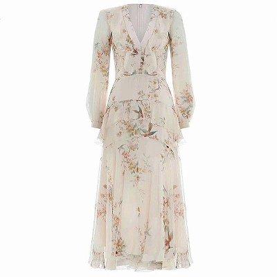 Vestido midi floral decote V profundo