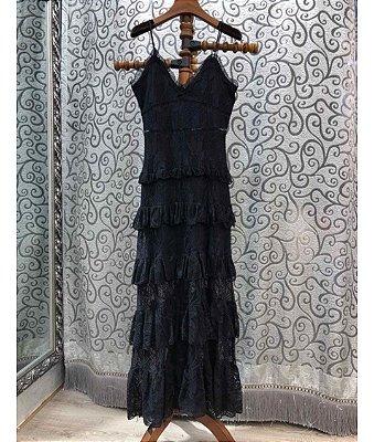 Vestido midi renda preto alcinha