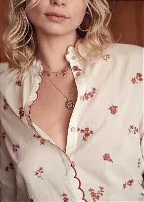 Camisa algodão vintage bordado frorzinha