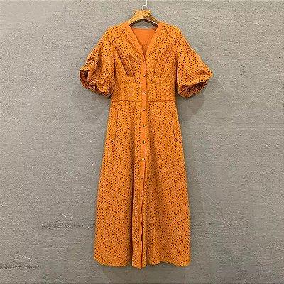 Vestido midi lese laranja manga bufante