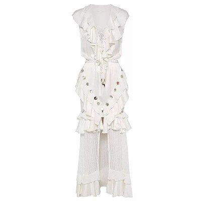 Vestido midi beach renda branco saia semi transparente