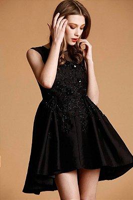 vestido mullet festa preto paetês